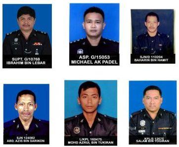 Enam anggota polis yang maut dalam insiden serangan hendap oleh kumpulan bersenjata di sebuah kampung di Semporna, Sabah pada Sabtu.