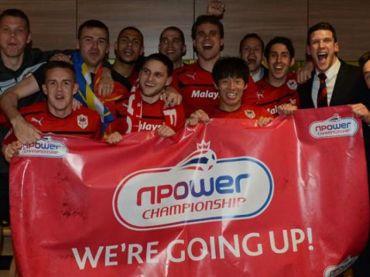 Pemain-pemain Cardiff City meraikan kejayaan pasukan mara ke kempen EPL musim depan.