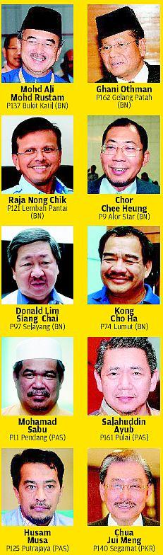 Antara pemimpin BN, PAS, dan PKR yang tewas pada PRU-13