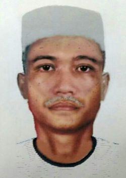Lakaran wajah suspek yang menembak mati Ahmad Rafli Abdul Malek.