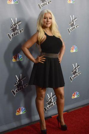 Christina ketika tampil pada tayangan perdana program The Voice musim terbaharu yang diadakan di Los Angeles.