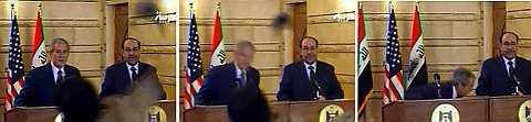 URUTAN gambar Bush dibaling kasut oleh Muntazer semasa sidang media Ahad lalu sempena lawatan terakhir sebelum meninggalkan White House bulan depan.