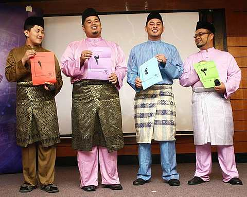 Empat finalis yang bakal bersaing di pertandingan akhir Akademi Al-Quran 4 pada 6 Ogos depan. Dari kiri: Muhammad, Tirmizi, Yahya dan Husni. - Foto oleh ALIF FARHAN BADRUL HIDZAM