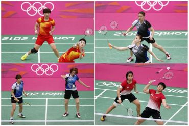 Dari kiri atas: Wang Xiaoli/Yang Yu (China),Kyung Eun/Kim Ha Na (Korea Selatan)  Dari kiri bawah: Greysia Polii/ Meiliana Jauhari (Indonesia) dan Ha Jung-eun/Kim Min-Jung (Korea Selatan).