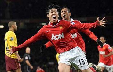 Aksi Park selepas menjaringkan gol tunggal perlawanan pada saingan menentang Arsenal, Selasa.